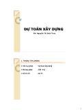 Bài giảng Dự toán xây dựng - Nguyễn Thị Bích Thủy